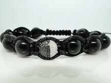 Black/White Beaded Onyx Macrame Diamond Bracelet 1.0 Ct