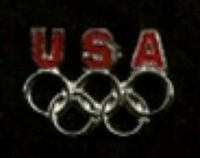 Olympic Pin Badge ~ USA ~ no date ~ 5 rings ~ silver tone