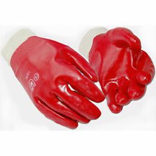 HYMAC 10 Pairs Red PVC Gloves Safety Work Fully Coated Dipped En388 Size Large