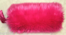 HOT PINK  FLUFFY FAUX FUR HAND WARMER MUFF CASUAL BRIDAL WEDDING BRAND NEW