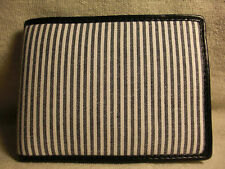 Non-Branded Mens Blues Striped Fabric/Manmade Bifold Wallet w/ 6 CC Slots