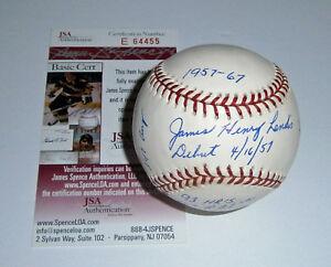 WHITE SOX Jim Landis signed STAT baseball w/ 6 Insc AUTO JSA COA Autographed