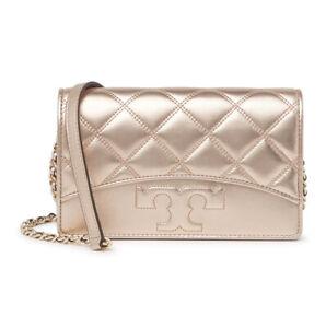 Tory Burch NWT $348 SAVANNAH Chain Phone Wallet Rose Gold Leather Crossbody Bag