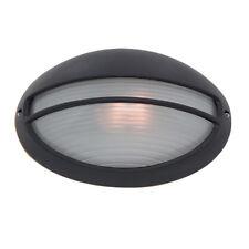 Searchlight Black Oval Aluminium Bulkhead Glass Outdoor Porch Wall Bracket Light