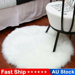 Fluffy Sheepskin Style Faux Fur Bedroom Rugs Chair Cover Hairy Carpet Seat AUS