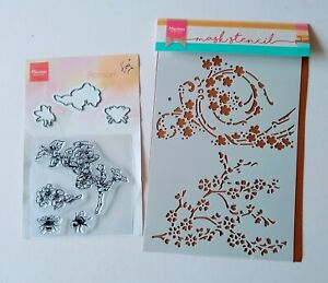 Marianne Design Stamps & Dies Set  Tiny's Blossom & Bees and Mask Stencil Floral