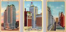3 Postcards  DALLAS, Texas  TX   MAIN STREET, Magnolia Bldg, Medical Arts Bldg