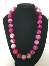 Huge 15mm Bead 45cm Polished Marbled Chalcedony Botswana Agate Beaded Necklace