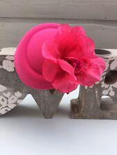 Fuchsia Pink Cerise Felt & Flower Hatinator Fascinator on Band Weddings