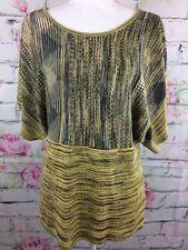 John Paul Richard Womens Pullover Shirt Size Large Yellow Brown Tribal Knit Top