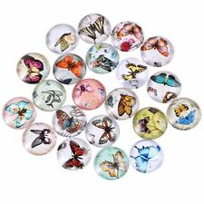 20mm 10 Random Mixed Butterfly Glass Cabochons Dome Flat Back Beads Lot Pendant