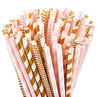 100 Pink Biodegradable Paper Gold Straws for Party Supplies Holiday Celebrations
