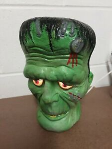 "Vintage 1993 Trendmasters Frankenstein Foam Mold Head Halloween 10"" Lighted"