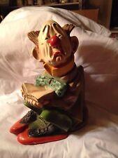 Vintage 1977 Universal Statuary Corp. - Chalkware - Sad Clown Sitting #500