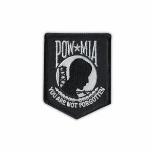 """Patch, Embroidered, POW MIA Not Forgotten (Black/White), 2.5"""" x 3"""""""