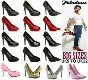 Women Mens Drag Queen High Heel Platform Court Crossdresser Shoe Large Size 9-12