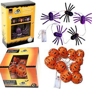 SET Halloween Lichterkette 10x Fledermaus + 5x Spinnen Horror Grusel Deko Kürbis