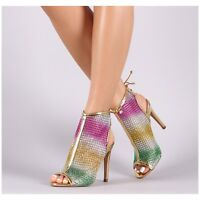 Liliana GARDENA-1 Gold Sheer Mesh Multi-Colored Rhinestone Peep Toe Ankle Boot