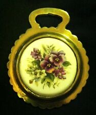 Vintage PURPLE PANSIES Porcelain Horse Harness Brass from England WOW YOUR WALLS