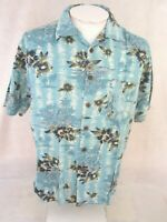 CARIBBEAN JOE Men Hawaiian ALOHA shirt pit to pit 24 L floral camp luau rayon