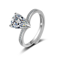 Women's Fashion Solid 925 Sterling Silver Pear Zircon Solitaire Ring Gift Size 7