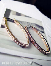 Simulated Diamond/Oval Hoop Earring with Crystal/Rose gold/White gold/RGE261