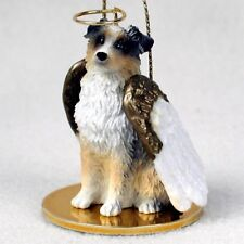 Australian Shepherd dog Angel Ornament resin Figurine Holiday Blue Merle Docked