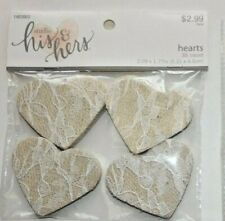 """HIS & HERS!  """"BEAUTIFUL BURLAP & WHITE LACE HEARTS""""   36 PIECES"""