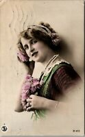 Vtg 1912 RPPC Young Austrian Woman POLA AUSTRIA Postmark, Real Photo Postcard a