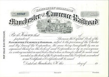 Manchester & Lawrence Railroad Blank & Unused Share Certificate
