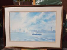 TUGBOAT OR FERRY LIVERPOOL MERSEYSIDE SCENE BY B. CLARK PICTURE PRINT
