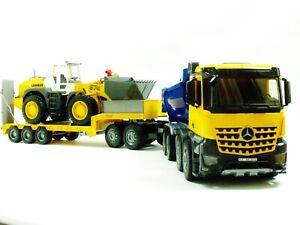 Bruder 03623 MB Arocs Kipper blau gelb + Radlader 02430 + Tieflader Baustelle