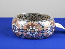 Brighton Silvertone ZAHRA LOVE Peach Coral Red Cloisonne Hinged Bangle Bracelet