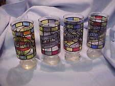Set Of4 Vintage Beer Glasses Stained Glass Black Label Falstaff Schaefer Miller