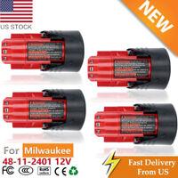 For Milwaukee M12 12Volt Lithium Li-Ion 4Pack 12V Battery 48-11-2401 48-59-1812