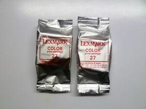 Original 2 X Lexmark 27 Color X74 X75 X1100 X1200 X2200 Z13 Z23 Z25 Z33 Z35 O. V