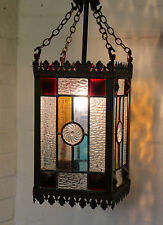 A Vintage Stained & Leaded Glass Ceiling Light Antique Style