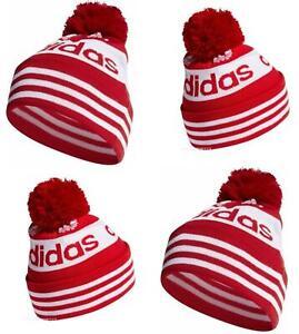 Adidas Originals Youth/Teens Jacquard Pom Pom Beanie Sports Hat Beanie Red