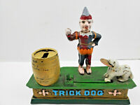 Vintage Trick Dog Cast Iron Mechanical Coin Bank Jumping Dog