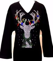 X-LARGE Black Christmas Light Reindeer Rhinestone Hand Embellished Top Shirt