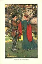Elizabeth Shippen Green  -  Lady and Knight in Armour  -   Antique Print