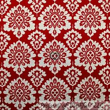 BonEful Fabric FQ Cotton Quilt VTG Red Maroon Cream White Damask Flower Leaf Dot