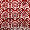 BonEful Fabric FQ Cotton Quilt VTG Red Maroon Cream White Damask Flower Leaf Dot