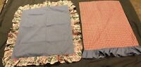 1 Standard Red Check Chambray Blue Pillow Case And 1 Ruffle Floral Sham Blue