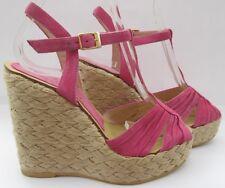 Topshop size 4 (37) pink suede high heel t bar wedges