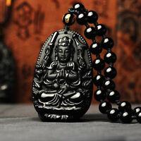 Collar Buda De Obsidiana Colgante Bola Negro Jade Natural Suerte Amuleto Regalo