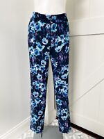 Ann Taylor Women's Blue Floral Straight Leg Career Dress Pants Size 4 Tall
