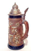 """Vintage 9 1/2"""" Original King German Lidded Beer Stein,Original KING 1008,Mug"""