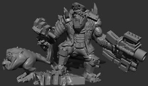 Mercenary Space Ork Warboss - Proxy Model 28mm Scale 3D Print - Multipart Kit
