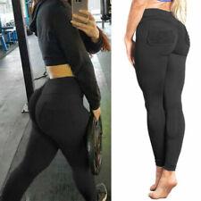 Women PUSH UP Yoga Leggings Trousers Fitness High Waist Pants Sport Jogging Gym